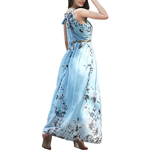Haodasi Damen Chiffon A-Linie Kleid Drucken Strand Ärmellos Maxi Sundress Gefüttert mit Gürtel Blau