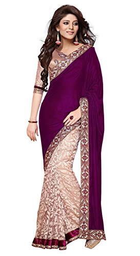 Janasya Women's Brasso & Net Saree (JNE0240.D_Multi-Coloured)  available at amazon for Rs.599