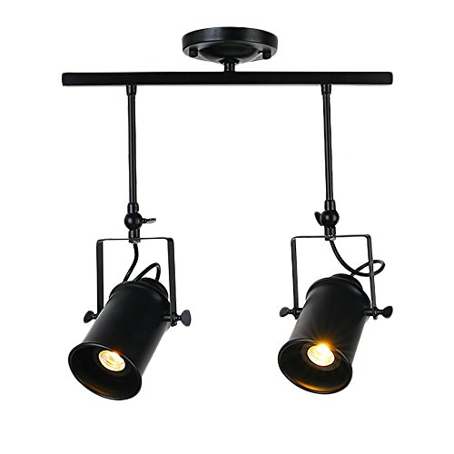 Frideko Retro Style 2 Socket Industrial Spot Light Ceiling Pendant Lamp for Cafe Bar Dining Room Restaurant (Black)