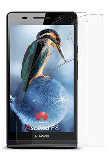 2X Huawei P6 | Schutzfolie Matt Bildschirm Schutz [Anti-Reflex] Screen Protector Fingerprint Handy-Folie Matte Bildschirmschutz-Folie für Huawei Ascend P6 Bildschirmfolie