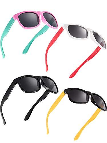 Blulu 4 Stücke Kleinkind Sonnenbrille Gummi Flexibel Kinder Polarisiert Sonnenbrillen, Alter 2-10 (Farbe F)