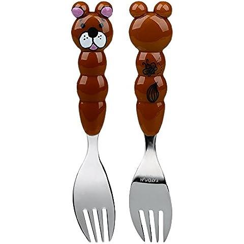 EAT4FUN 'Animo' Bambini Bambini Posate in acciaio inox Animal–Orso Forcella - Orso Posate