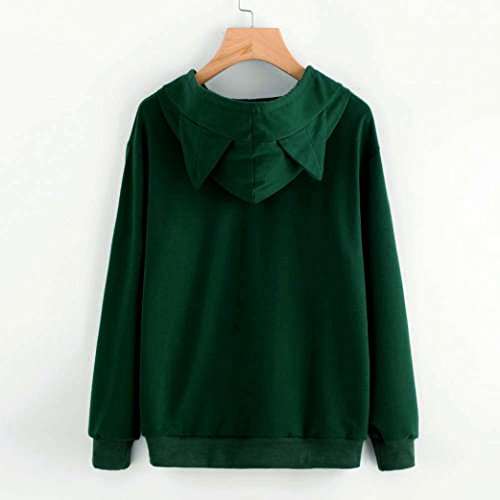 Bluestercool Sweat à Capuche Femmes Manche Longue Chat Sweat-Shirt Tops Vert