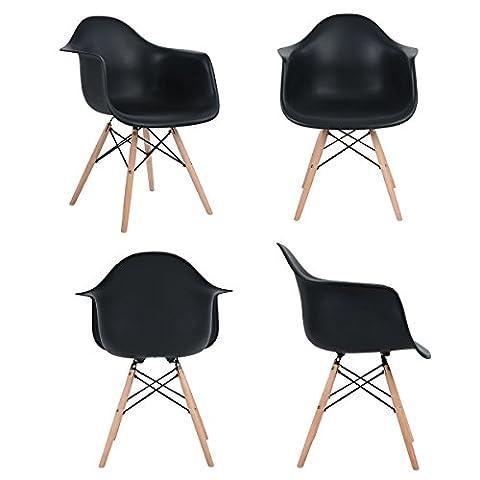 Ajie Inspire DAW chaise - Noir - Lot de 4 chaise salle à manger Lounge Fauteuil de bureau avec jambe de bois de hêtre massif