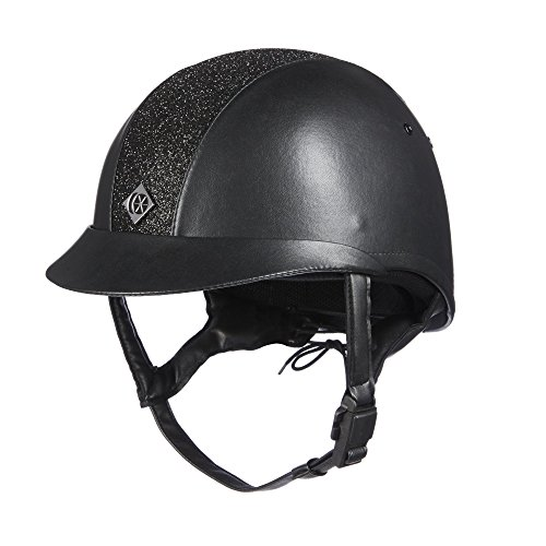 Charles Owen Leather Look eLumen 8 Riding Hat 55cm Black Sparkly (Charles Owen Hat)