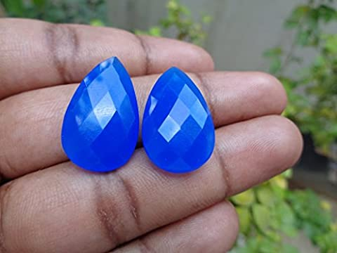 Faceted Cobalt Blue Chalcedony Teardrop Briolette, 2 Stones Listing, Jewelry Making Supplies