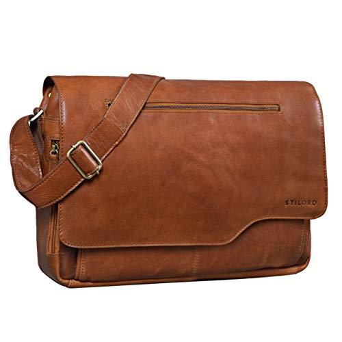 STILORD 'Marvin' Borsa Messenger vintage in pelle Grande borsa a tracolla da uomo donna per l'università ufficio lavoro Borsa porta PC 15.6 pollici, Colore:maraska - marrone