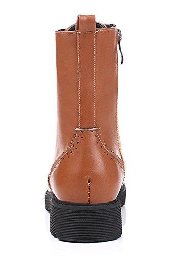 Ye Chaussures Femme Richelieu talon bloc Basse en dentelle cheville jusqu'à bottes confortable Rétro automne hiver chaussures Marron