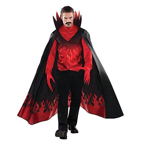 1 Herrenkostüm Teufel - Cape, Shirt & Handschuhe - Grösse (Kostüme Size Dragon Plus)