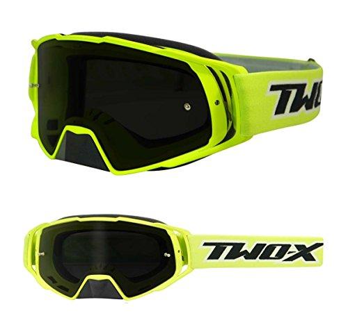 TWO-X Rocket Crossbrille neon gelb Glas getönt grau MX Brille Nasenschutz Motocross Enduro Motorradbrille Anti Scratch MX Schutzbrille Nose Guard