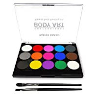 Body Painting Face Paint Kit, 15 Color Non-Toxic Professional Palette Washable with Brush for Kids for Art Show Halloween Party Colsplay Makeup Body Festive Face Paint Kids