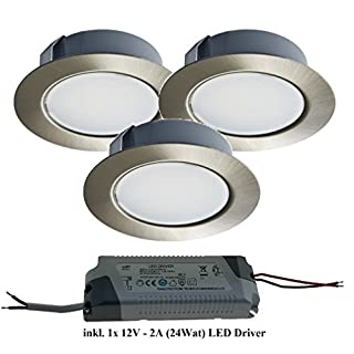 Trango Set of 3 TGG4E 03XT LED Built-In Light Flush-Mounting Light including 1x LED transformer (12Volt 2000 Mah) to replace traditional G4 Lights Kitchen Lights, etc. Edelstahl-Look inkl. LED Trafo
