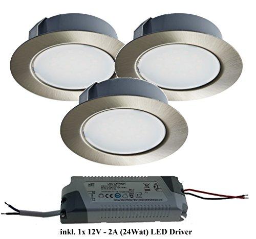 Trango TGG4E-03xT - Set di 3 faretti da incasso a LED, con 1 trasformatore LED (12 Volt - 2000mAh), per sostituire tradizionali lampade G4 da cucina, cappa, ecc. Edelstahl-Look inkl. LED Trafo