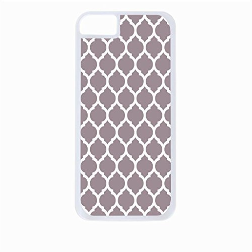Grey Lattice Pattern- Hard White Plastic Snap