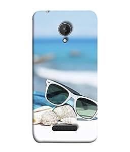 PrintVisa Designer Back Case Cover for Micromax Canvas Spark Q380 (Sea Side Trendy Sunglasses Sea Shells)