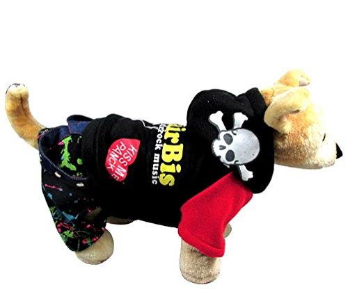 Cocker Spaniel Denim Shirt (selmai Punk Muster Print Denim Overalls Hund Overall Outfit Winter, für kleinen Hund Katze Puppy)
