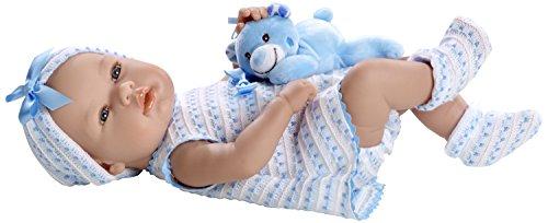 "Arias - 65119 - Elegance, Bambola con peluche ""Real Baby"", colore: Azzurro"
