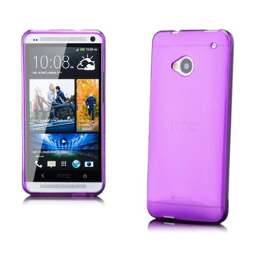 iCues HTC One M7 |  Transparent TPU Case Lila | [Display Schutzfolie Inklusive] Transparent Klarsichthülle Durchsichtig Klare Klarsicht Silikon Gel Schutzhülle Hülle Cover Schutz