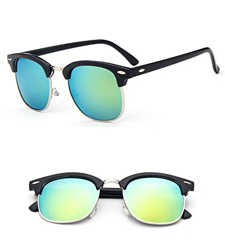 YUHANGH Occhiali da Sole Classici Mezze in Metallo Unisex Occhiali da Sole da Donna Occhiali da Sole Specchiati Lenti Verdi Blu