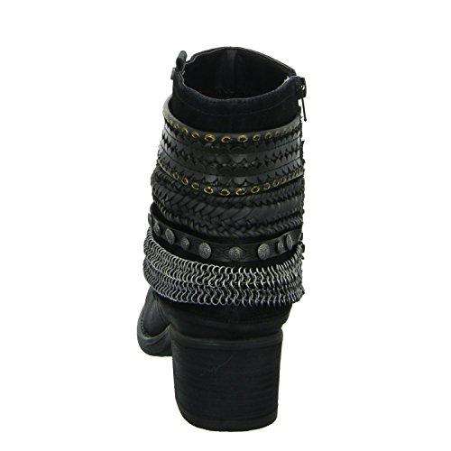 Eleganter reißverschlussstiefelette Schwarz Boden schwarz 656574f6s Bullboxer Schlupf Kaltfutter Damen wqAXTxT