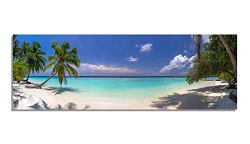 PIX Visions Leinwand Bild Bilder Karibik Palmen Strand Wasser Sand Meer Sonne Paradies Himmel XXL Wandbild Kunstdruck Leinwandbild (150x50 cm)