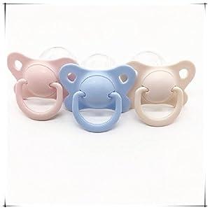 ABDL Pacifier Dummy For Adult ABDL X-Large Size 5*3.4cm 3 Set (Pink,Blue,Beige)