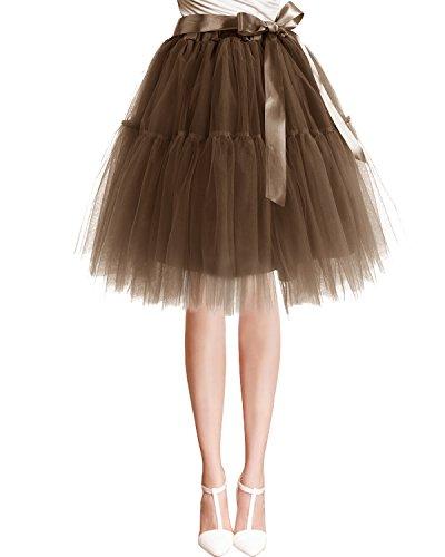 Bbonlinedress 1950er Vintage Retro Petticoat Reifrock Tutu Unterrock Coffee
