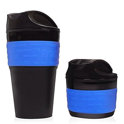 Bleu, Tasse de voyage pliable, Mug – Tasse de voyage en silicone de grande qualité, sans BPA. Une excellente idée cadeau