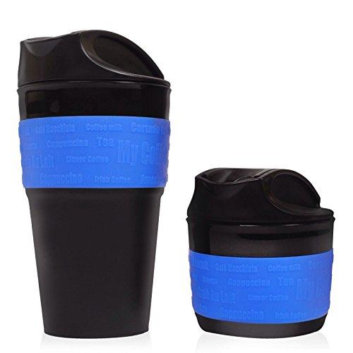Taza de Viaje Plegable Azul - Taza de Viaje de Silicona de Alta Calidad, Libre de BPA. Una Excelente Idea para Regalo