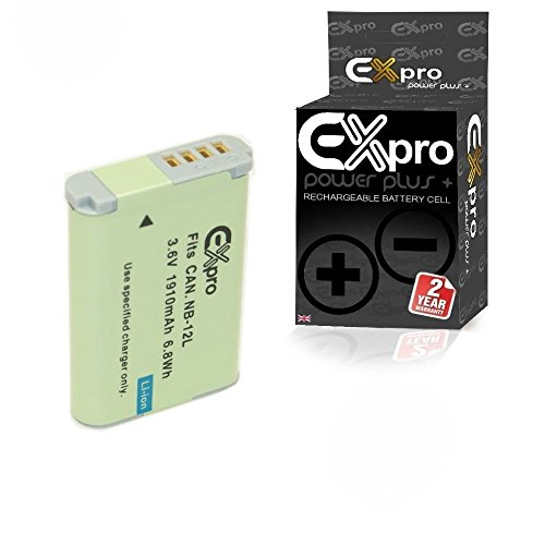 EX-Pro–NB-12L NB12L 1910mAh alta potencia nominal Plus iones de litio Digital Batería para Canon Legria Mini X, PowerShot G1X Mark II y N100