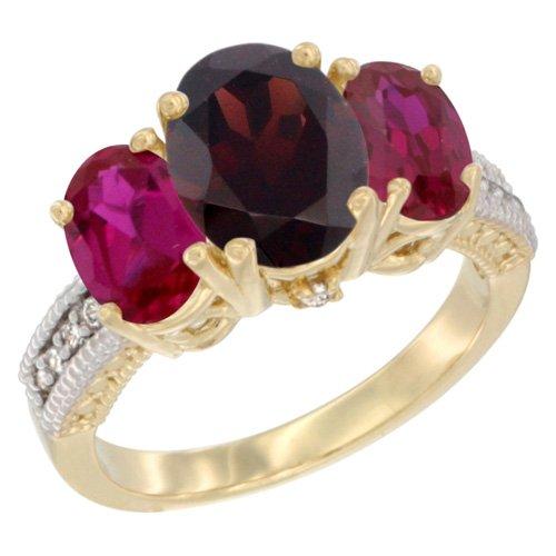 Revoni, 9Karat Gelbgold, Multi Edelstein und Diamant 3Stein Ring, Oval Granat & Ruby Größe L (Ruby Und Garnet Ring)