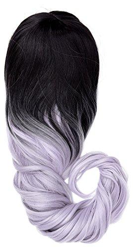 amback lang Dye dunklen Wurzeln Ombre Cosplay Halloween Perücke für Frauen gelockt Welle Haar Perücken Kappe/Light Purple rf19