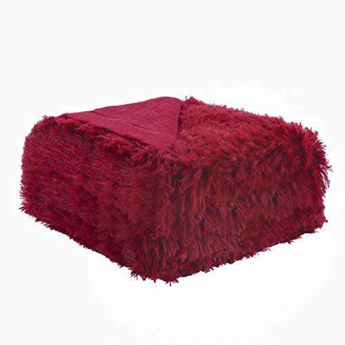 sourcing map Weiches Kunstfell Blanket-Long Shaggy Fleece Faser Bett Decke Home Dekoration, Überwurf/Twin/Full/Queen Size, Rot, Throw