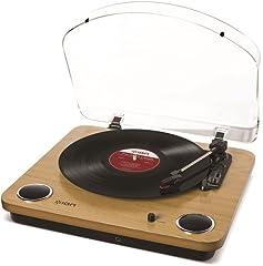 Idea Regalo - ION Audio Max LP - Giradischi a Tre Velocità con Altoparlanti Stereo, Conversione USB dei Dischi in Digitale, Uscite RCA Standard e Uscita Cuffie, Finitura in Legno Naturale