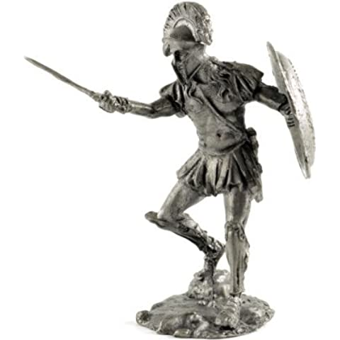Tin toy soldiers. War of Athens and Sparta. Spartan Hoplite 470 BC. Metal sculpture, statue. Collection 54mm (scale 1/32) miniature figurine by Tin