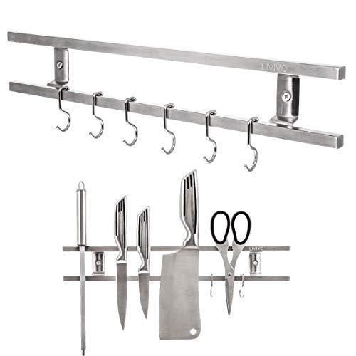 Fineway Magnetisch Wand Messer Rack Edelstahl Kchenutensilien Werkzeug Kche Halter Mit 6 Haken Stilvolles Design Sicher Zu Verwenden Gre 40 Cm Lnge X 6 Cm Hhe