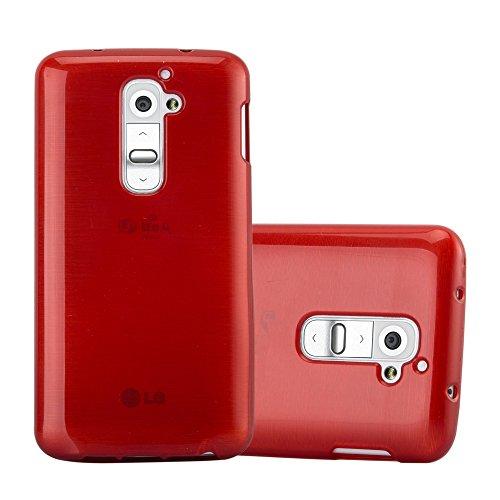 Cadorabo Hülle für LG G2 - Hülle in ROT – Handyhülle aus TPU Silikon in gebürsteter Edelstahloptik (Brushed) Silikonhülle Schutzhülle Soft Back Cover Case Bumper