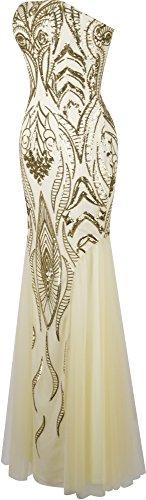 Angel-fashions Femme Sans bretelles Paillette Sirene Tulle Gatsby Robe de mariee Champagne