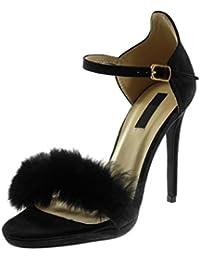 Angkorly - Scarpe Moda Sandali Scarpe Decollete con Cinturino alla Caviglia  Stiletto Donna Pelliccia Tanga Tacco 5d538153e59