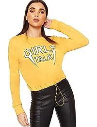 WearAll Women's Long Sleeve Slogan Text Print Cropped Sweatshirt Ladies Top 8-16