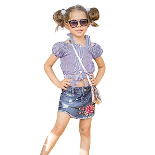 Mitlfuny Unisex Baby Kinder Jungen Zubehör Säuglingspflege,Kleinkind Kinder Baby Mädchen Outfits Blume Rose Gestreiftes T-Shirt Tops Denim Rock Set