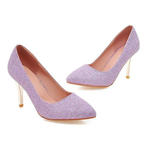 VogueZone009 Femme Tire Pointu à Talon Haut Tissu à Paillette Couleur Unie Chaussures Légeres Violet