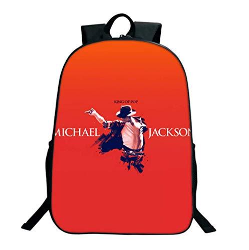 GHDE& 16 Zoll Rucksack 3D gedruckt Schultaschen, Michael Jackson Schulrucksack Unisex Laptop Rucksack für Kinder/Studenten/Erwachsene,4