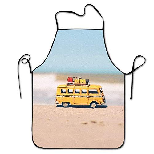 fgjhdfj Bib Kitchen Apron Yellow Bus On Beach Waterproof Chef Apron -