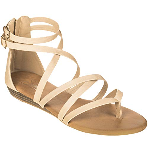 08f8575f157 Solemate Women's Flat Sandals Gladiator Crisscross Strappy Flat Wedge  Sandal Beige Size: 6.5