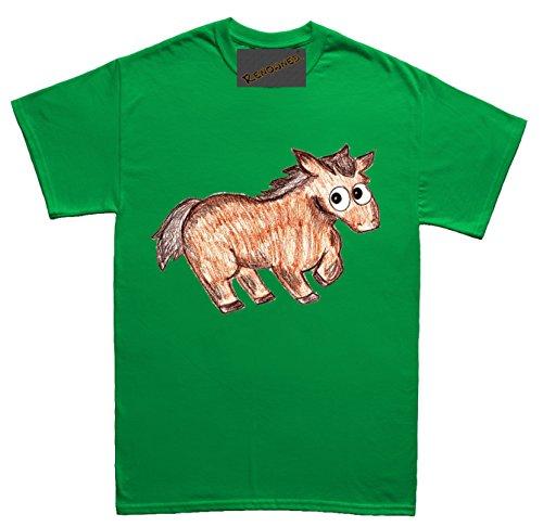 Renowned Baby Horse Coloured Drawing Sketch Herren T Shirt Grün