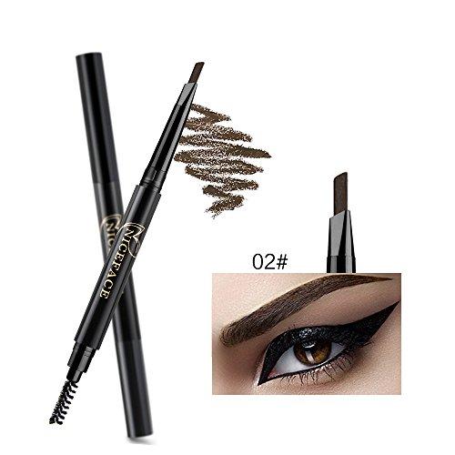 NICEFACE Precision wasserdicht Stir Liner Doppel-Augenbrauen Bleistift mit Augenbrauen Pinsel Tools 5 Farben Dark Brown Packung von 1