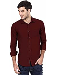 Rope Men's Solid Casual Maroon Shirt (ROPESH-M-P)