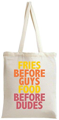 Fries Before Guys Slogan Tote Bag - Friesen Tote