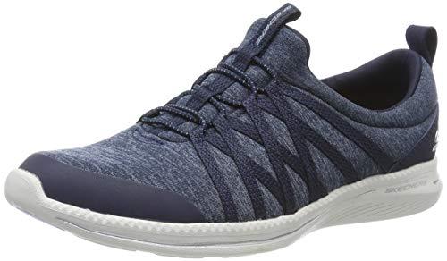 Skechers Damen City Pro - What a Vision Slip On Sneaker, ((Gray Heather Mesh/Durabuck/Hot Melt/White Trim NVY), 4 EU Trim Slip-ons